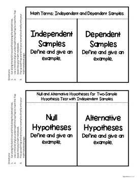 Hypothesis Testing with Two Samples - Statistics INBs and Scaffolded Notes