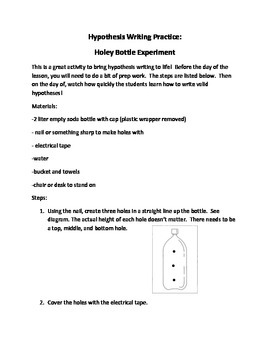 Hypothesis Writing Practice - Holey Bottle