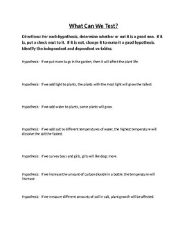 Hypothesis and Variable Identification Worksheet