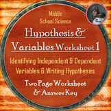 Hypothesis, Independent Variable, and Dependent Variable Worksheet One