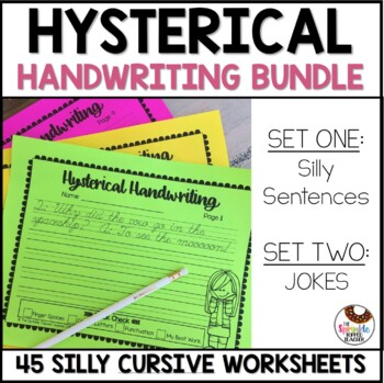 Hysterical Handwriting Worksheets Cursive Bundle