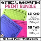 Hysterical Handwriting Worksheets | Print Bundle