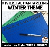 Hysterical Handwriting Worksheets in Cursive and Print | Winter Theme