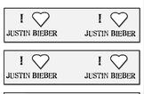 I Love Justin Bieber Pencil Flags