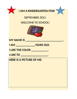 I AM A KINDERGARTEN STAR-BULLETIN BOARD ACTIVITY