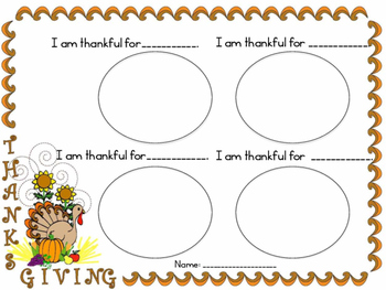 I AM THANKFUL FOR...  A CREATIVE WRITING OR DRAWING ACTIVI