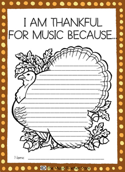 I AM THANKFUL FOR MUSIC!  GIVE THANKS FOR MUSIC!  THANKSGIVING WRITING TEMPLATE
