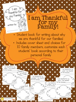 I AM THANKFUL FOR MY FAMILY - PreK and Kindergarten Book - Draw and Write