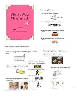Autism Social Story Transition I Always Wear My Glasses!  SPED/OHI