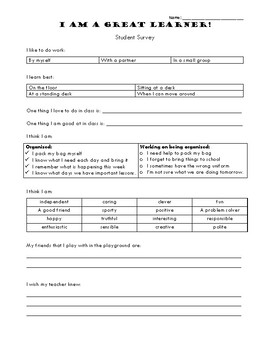 I Am A Great Learner! Student Survey Stage 1