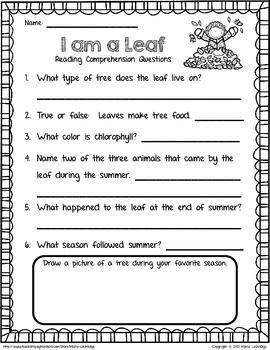 """I Am a Leaf "" Reading Comprehension Questions"