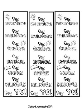 I Am Affirmations Bookmarks in Spanish by 21stCenturyMaestra | TpT