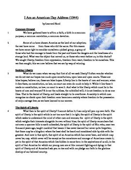 """I Am An American"" Address - Informational Text Test Prep"