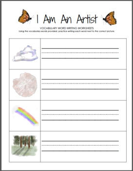 I Am An Artist Vocabulary Pack