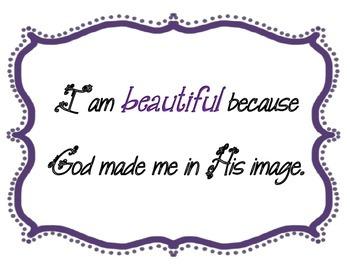 {FREEBIE} I Am Beautiful / Inspiration / Coloring Sheet / Beautiful / Poster
