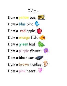 I Am Color Sentences Pocket Chart Activity