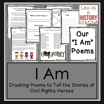 """Civil Rights Movement Heroes - Poetry - Writing """"I Am"""" Poems"""