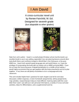 I Am David Cross-Curricular Novel Unit; WW2, Holocaust, Post WW2