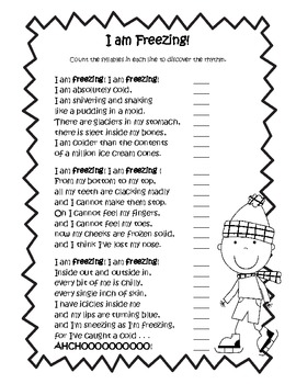 """I Am Freezing""  by Jack Prelutsky Common Core Poetry Study"