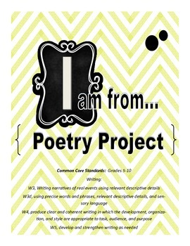 """""""I Am From"""" poem activity with prewriting and scoring guide"""