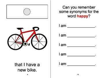 """""""I Am Happy"""" Synonyms Adapted Velcro Book, SPEECH THERAPY, Autism, Vocabulary"""