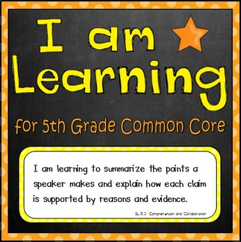 I Am Learning -- Common Core Standard Posters (5th Grade)