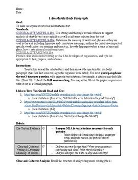 I Am Malala Body Paragraph Writing Argument Graphic Organizer Calkins G 8 9 10