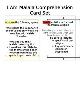 I Am Malala Comprehension Card Set