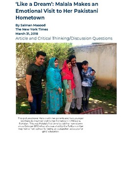I Am Malala: First Return to Pakistan--Article and Discussion Questions