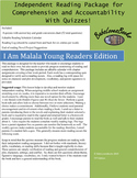 I Am Malala Independent Reading Package with Quizzes!