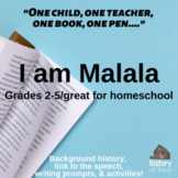 I Am Malala Speech Guide and Analysis for Grades 2-5 and H
