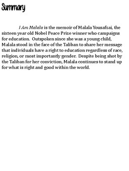 I Am Malala Webquest