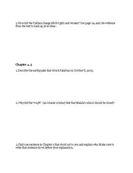 I Am Malala YA version Reading Packet