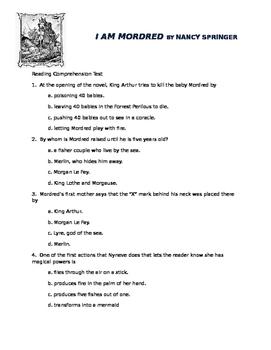 I Am Mordred by Nancy Springer: Multiple Choice Reading Test