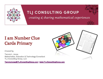 I Am Number Clue Cards Primary