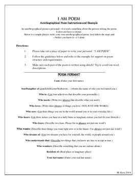I Am Poem Format (First Days of School )
