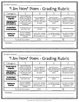 I Am Poem - I Am From Poem: Includes Templates, Example Poem & Grading Rubric