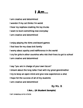I Am Poem... Introductions Through Poetry