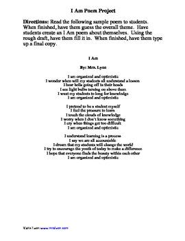 I Am Poem Outline