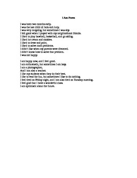I Am Poem - Present Tense (Beginner ESL) Lesson 9