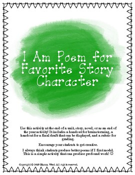 I Am Poem for Favorite Story Character
