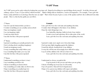 """I Am"" Poetry Assignment"