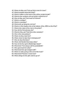 I Am Princess X Trivia Questions