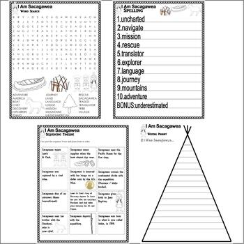 I Am Sacagawea : Native American Study Comprehension Literacy Unit Activities