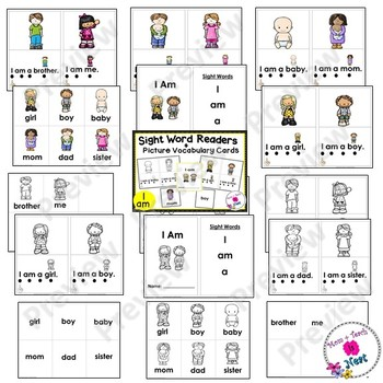 Sight Word Emergent Reader- Book & Vocabulary Cards: I Am (I, am, a)