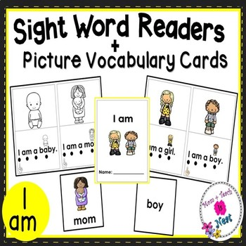 Sight Word Emergent Reader- Book & Vocabulary Cards: I Am