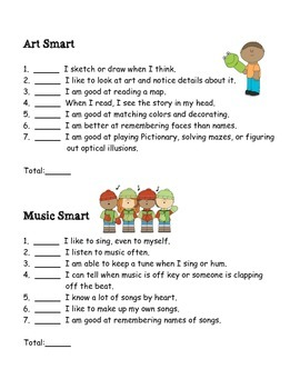 I Am Smart!  A Kid-Friendly Multiple Intelligences Quiz
