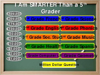 i am smarter than a 5th grader powerpoint game template by