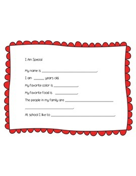 I Am Special Writing Template