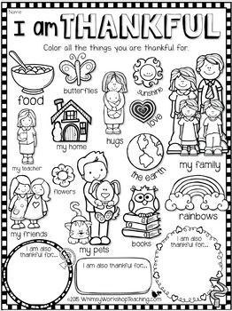 I Am Thankful Kids' Printable for Thanksgiving